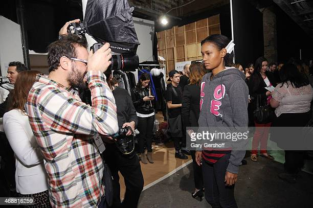 Atmosphere backstage at the ICB By Prabal Gurung Show during Mercedes-Benz Fashion Week Fall 2014 at Eyebeam on February 11, 2014 in New York City.