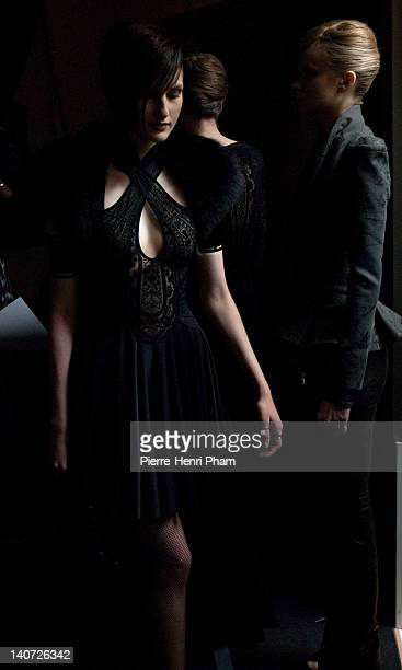 Atmosphere backstage during the Leonard Ready-To-Wear Fall/Winter 2012 show as part of Paris Fashion Week at Grand Palais on March 5, 2012 in Paris,...