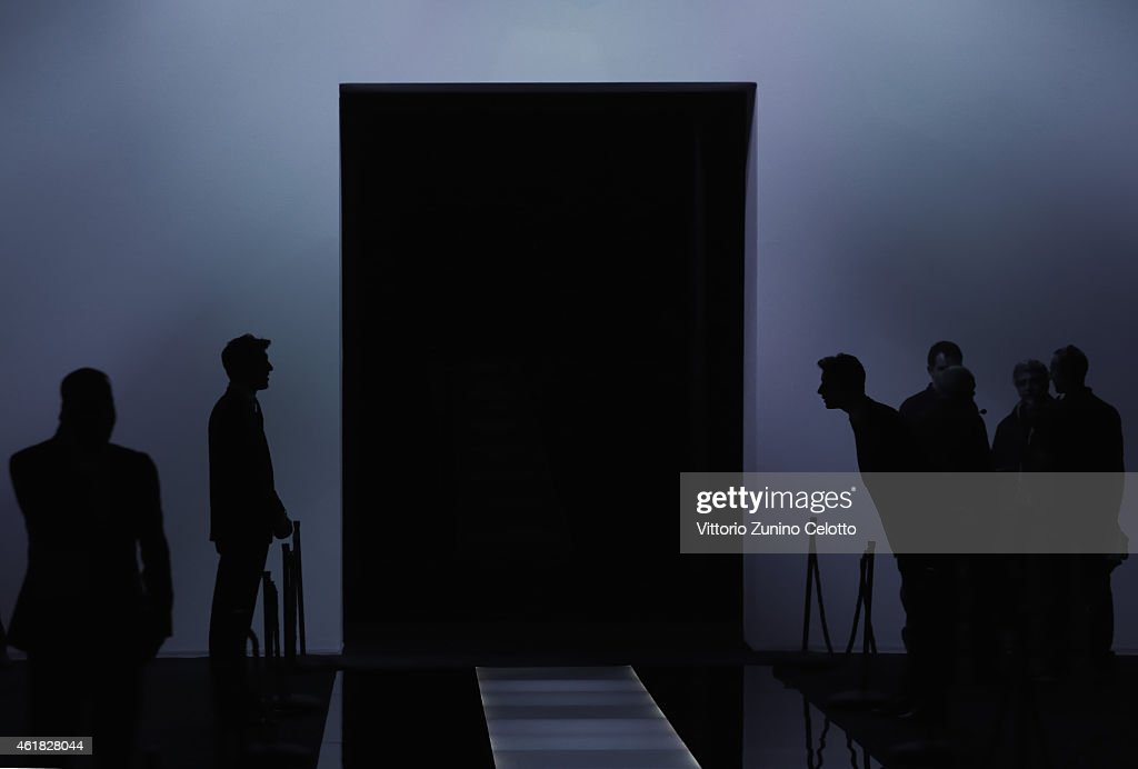 Atmosphere before Giorgio Armani Show as part of Milan Menswear Fashion Week Fall Winter 2015/2016 on January 20, 2015 in Milan, Italy.