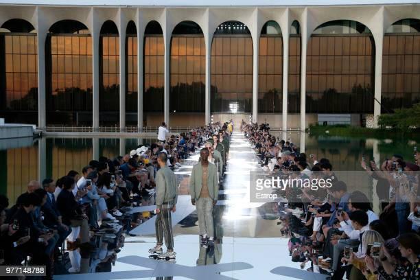 Atmosphere detail at the Ermenegildo Zegna show during Milan Men's Fashion Week Spring/Summer 2019 on June 15 2018 in Milan Italy