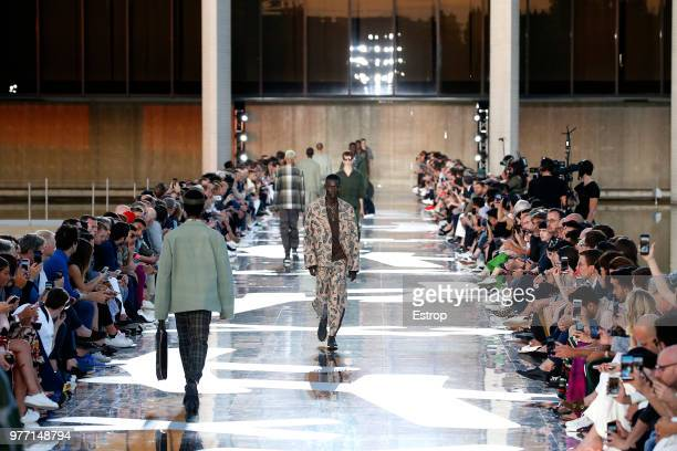 Atmosphere detail at the Ermenegildo Zegna show during Milan Men's Fashion Week Spring/Summer 2019 on June 15 2018 in Milan Italy