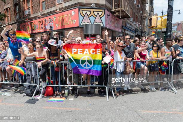 Atmosphere during 49th annual New York pride parade along 7th avenue