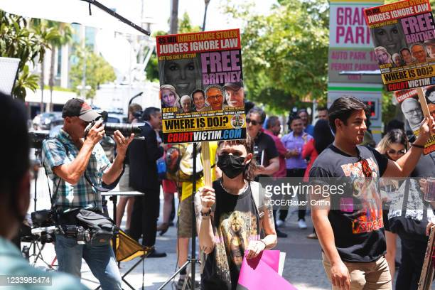Atmosphere during a 'Free Britney' Rally outside the courthouse as a hearing regarding Britney Spears' conservatorship takes place on July 14, 2021...