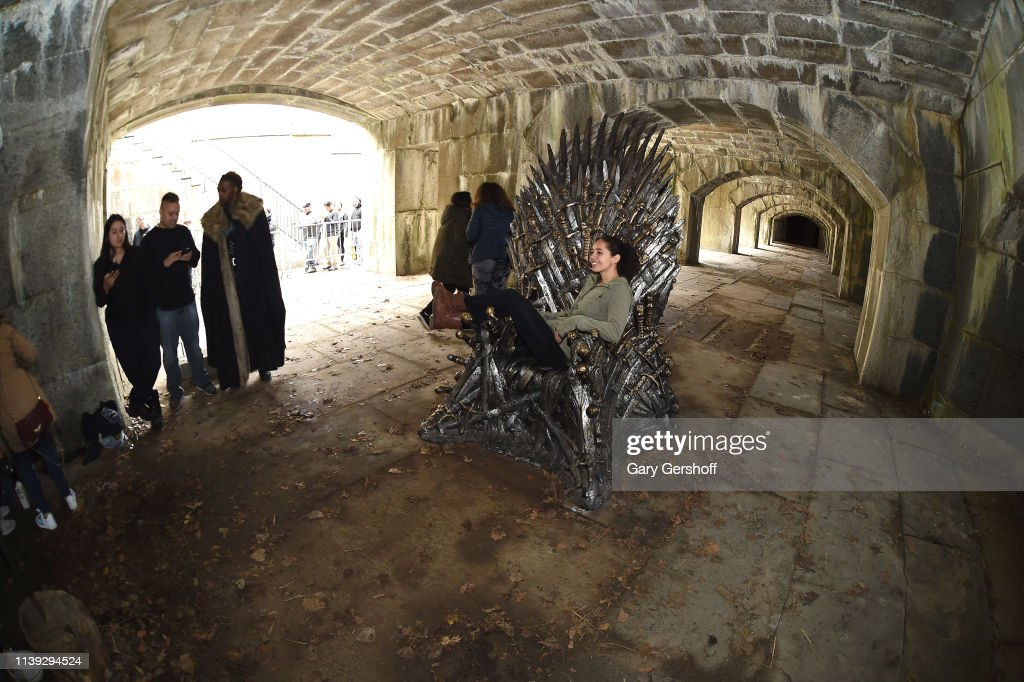 """""""Game Of Thrones"""" Iron Throne Replica Appears In Queens Ahead Of Final Season : News Photo"""