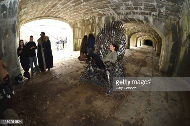 Atmosphere during a Game Of Thrones iron throne replica appearance in Queens ahead of the final season at Fort Totten Park on March 30 2019 in New...