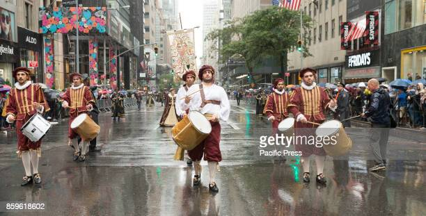 Atmosphere during Columbus Day parade under rain along Fifth Avenue in Manhattan