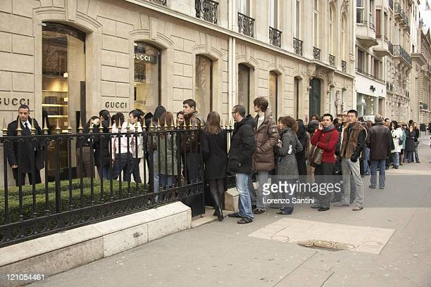 Atmosphere during First Day of 2007 Winter Sales in Paris at Avenue Montaigne Paris in Paris France