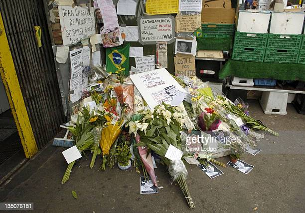 Atmosphere during Makeshift Memorial for Jean Charles de Menezes July 29 2005 at Stockwell Tube Station in London Great Britain