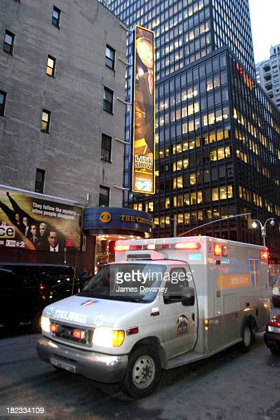 Atmosphere during Tara Dakides' Snowboard Accident at the Late Show with David Letterman at Ed Sullivan Theatre in New York City New York United...