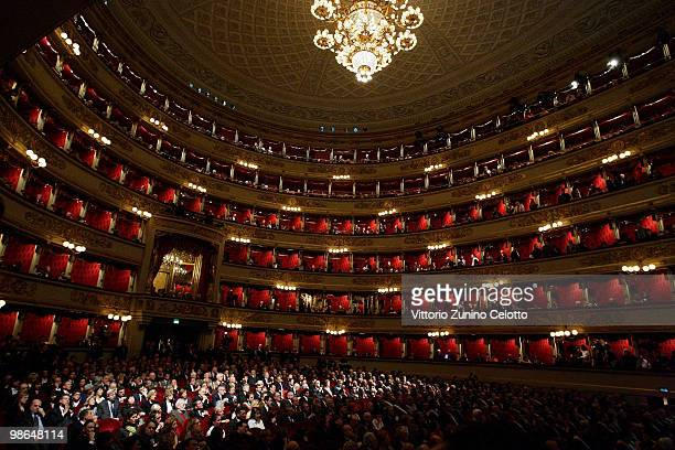 Atmosphere during the celebrations of Italy's Liberation Day held at Teatro Alla Scala on April 24 2010 in Milan Italy The day is taken as symbolic...