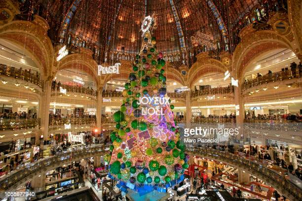 Atmosphere during the Christmas decorations inauguration at Galeries Lafayette on November 7 2018 in Paris France