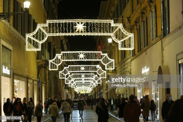 Atmosphere during the Christmas Lights at Bvlgari Boutique Rome on November 27, 2020 in Rome, Italy.