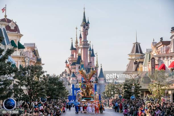 Atmosphere during the Disneyland Paris 25th Anniversary Parade at Disneyland Paris on March 25, 2017 in Paris, France.