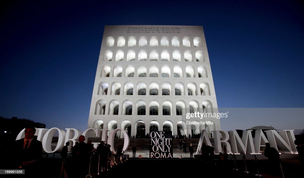 Atmosphere during the 'One Night Only' Roma hosted by Giorgio Armani at Palazzo Civilta Italiana on June 5, 2013 in Rome, Italy.