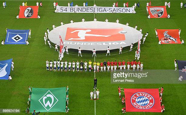 Atmosphere during the opening ceremony prior to the Bundesliga match between Bayern Muenchen and Werder Bremen at Allianz Arena on August 26 2016 in...