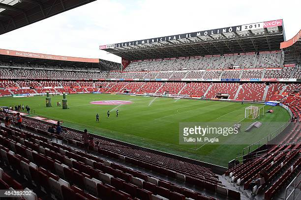 Atmosphere during the preseason friendly match between Real Sporting de Gijon and US Citta di Palermo at Estadio El Molinon on August 8 2015 in Gijon...