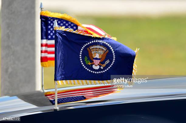 Atmosphere during US President Barack Obama presidential limo arrives in Miami POTUS landed at 356pm at Miami International Airport on May 27 2015 in...
