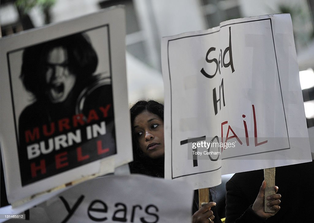 Atmosphere from outside the Conrad Murray trial during the first day of jury deliberations in seeking a verdict in the death of the singer Michael Jackson on November 4, 2011 in Los Angeles, California.