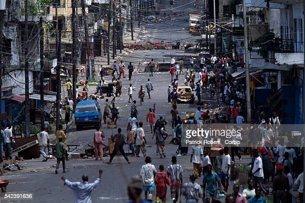 Atmosphere in a street of Monrovia on the side held by the National Patriotic Front of Liberia