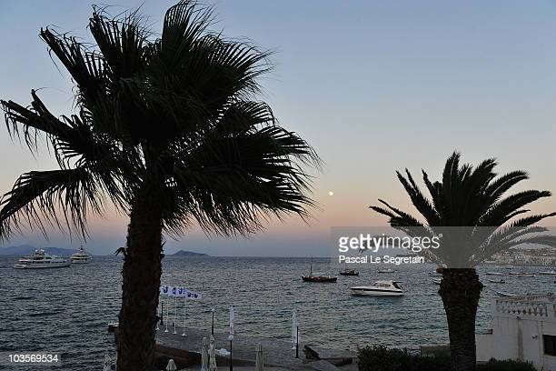 Atmosphere in Spetses at sunset before the Greek royal wedding on August 23 2010 in Spetses Greece The small Greek Island three hours from Athens is...