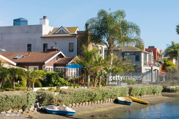 Atmosphere in the neighborhood of Venice Beach, California, USA. Typical houses along the canals.