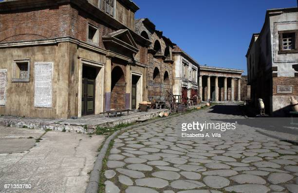 Atmosphere of ancient Rome on the set for 'Tu Mi Nascondi Qualcosa' at Cinecitta Studios on April 10 2017 in Rome Italy