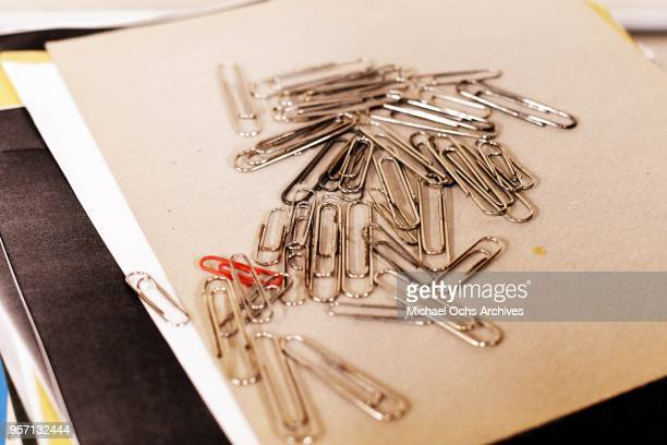 Atmosphere of the Michael Ochs Archives including a pile of paperclips on May 10 2018