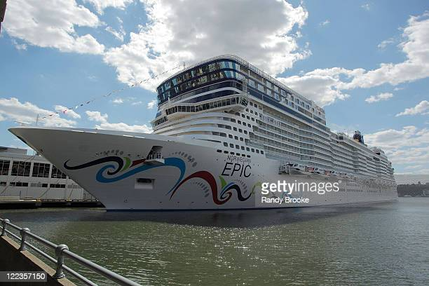 Atmosphere of the Norwegian Epic cruise ship christening at Pier 88 on July 2 2010 in New York City