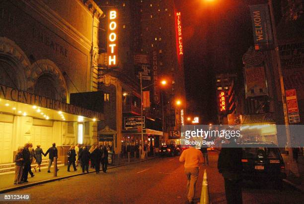 Atmosphere of West 45th Street one minute dimming of Marquee and signage lights for all Broadway theaters dimming of their lights in Times Square on...