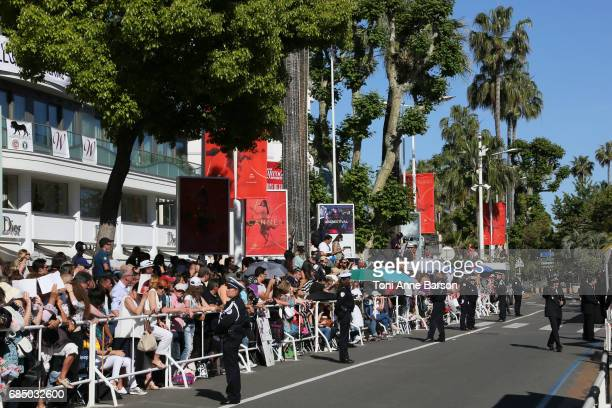 Atmosphere on the Croisette during the 'Ismael's Ghosts ' screening and Opening Gala during the 70th annual Cannes Film Festival at Palais des...