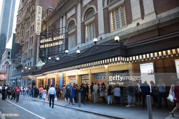Atmosphere outside the Belasco Theatre for the Broadway debut of 'The Terms of My Surrender' on July 28 2017 in New York City