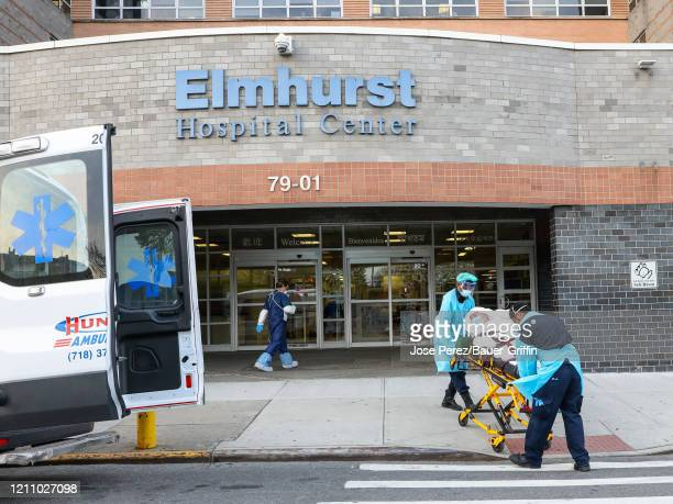 Atmosphere outside the Elmhurst Hospital Center on April 25 2020 in New York City