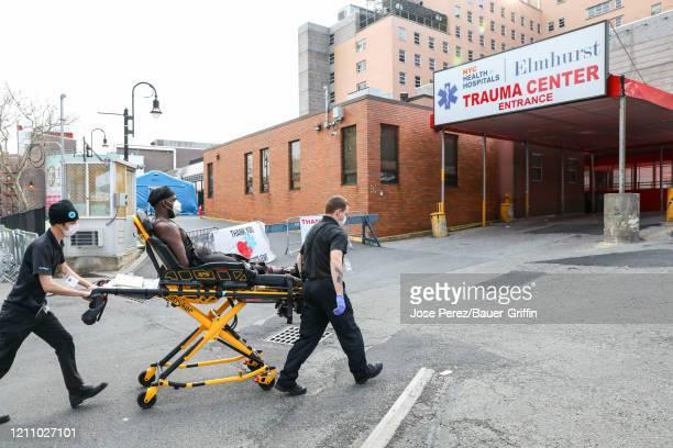 Atmosphere outside the Elmhurst Hospital Center on April 25 2020 in New York City