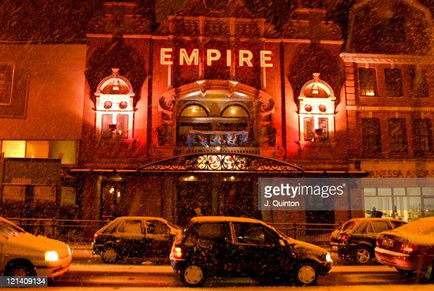 Atmosphere outside the Hackney Empire during 'Snowshow' ReOpening Gala London in London Great Britain