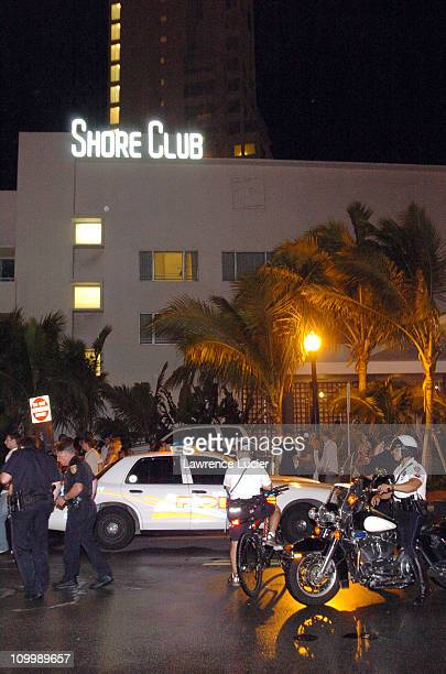 Atmosphere outside the Shore Club in Miami's South Beach after rap mogul Suge Knight was shot in the leg during the early hours of Sunday August 28...