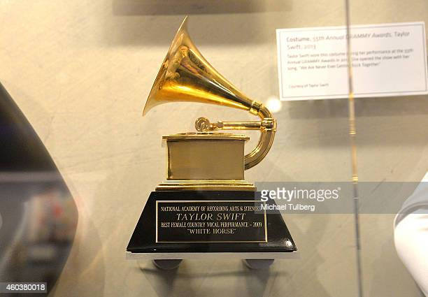 "Atmosphere shot of a GRAMMY Award belonging to Taylor Swift at media preview day of ""The Taylor Swift Experience"" at The GRAMMY Museum on December..."