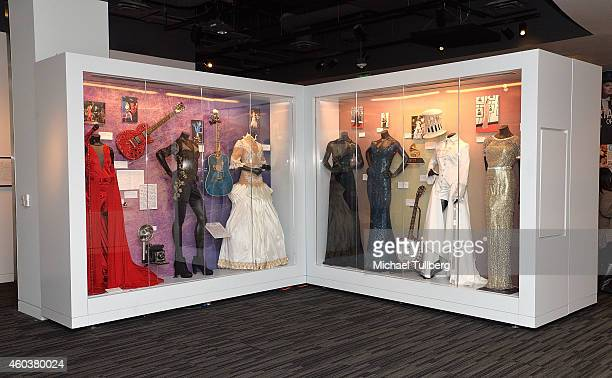 "Atmosphere shot of clothing belonging to Taylor Swift at media preview day of ""The Taylor Swift Experience"" at The GRAMMY Museum on December 12, 2014..."