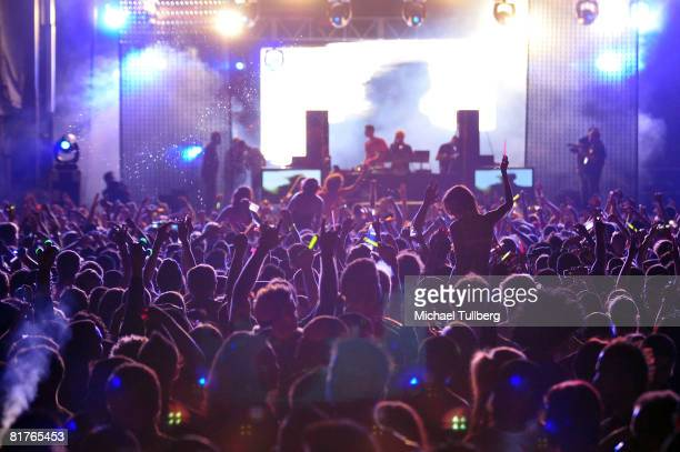 Atmosphere shot of part of the audience at the annual Electric Daisy Carnival massive rave party held at the Los Angeles Coliseum on June 28 2008 in...