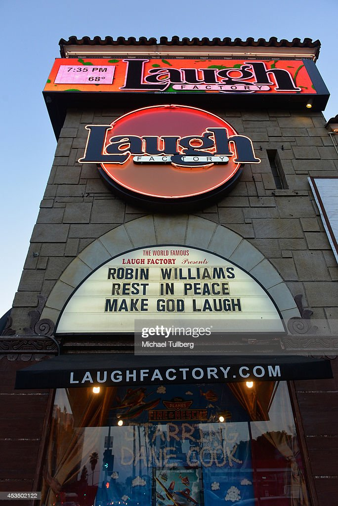Atmosphere shot of the marquee at the Laugh Factory in West Hollywood paying tribute to the late Robin Williams on August 11, 2014 in Los Angeles, California.
