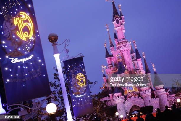 Atmosphere - Sleeping Beauty Castle during Disneyland Paris - 15th Anniversary Celebration at Disneyland Paris in Marne-La-Vallee / Paris, France.
