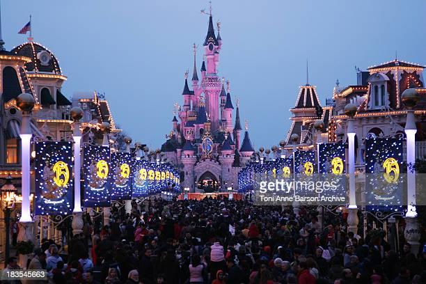 Atmosphere Sleeping Beauty Castle during Disneyland Paris 15th Anniversary Celebration at Disneyland Paris in MarneLaVallee / Paris France