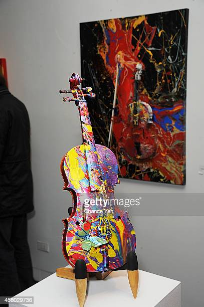 Atmosphere view of artwork on display at Aelita Andre Exhibit Opening Night at Gallery 151 on October 28 2014 in New York City
