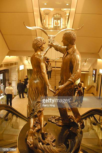 Atmosphere view of Princess Diana and Dodi Al Fayed statue at Harrod's in London England on August 4 2008 in London England