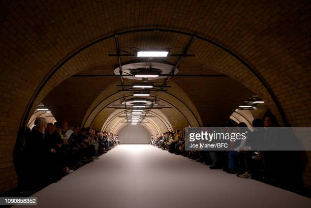 Atmosphere view of the runway at the Craig Green show during London Fashion Week Men's January 2019 on January 07 2019 in London England