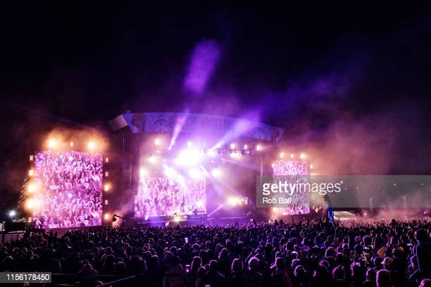 Atmosphere while Fatboy Slim performs onstage during Isle of Wight Festival 2019 at Seaclose Park on June 15 2019 in Newport Isle of Wight