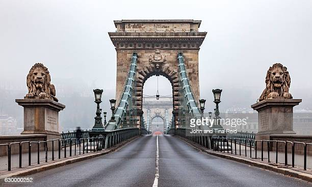 atmospheric chain bridge - budapest stock pictures, royalty-free photos & images