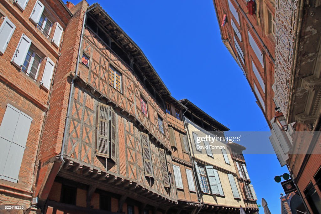 Atmospheric old houses in Rue St Julien in Albi. : Stock Photo