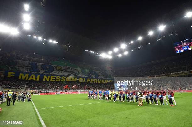 Atmpsphere during the Serie A match between AC Milan and FC Internazionale at Stadio Giuseppe Meazza on September 21 2019 in Milan Italy