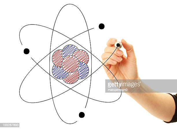 Atom drawn by scientist or student