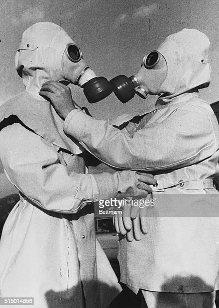Atomic air raid wardens Bonn Germany Here's a preview of what an air raid warden will look like in the atomic age These two men are dressed in...
